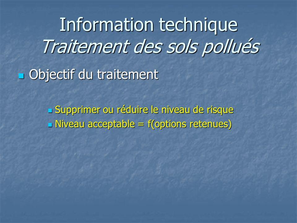 Information technique Traitement des sols pollués Objectif du traitement Objectif du traitement Supprimer ou réduire le niveau de risque Supprimer ou