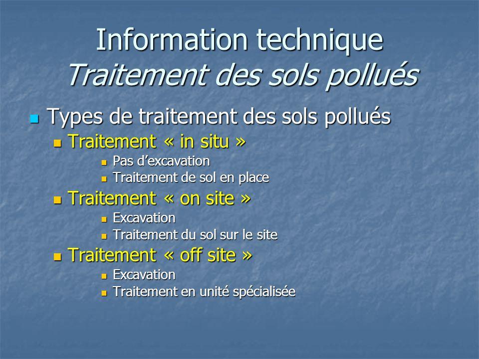 Information technique Traitement des sols pollués Types de traitement des sols pollués Types de traitement des sols pollués Traitement « in situ » Tra