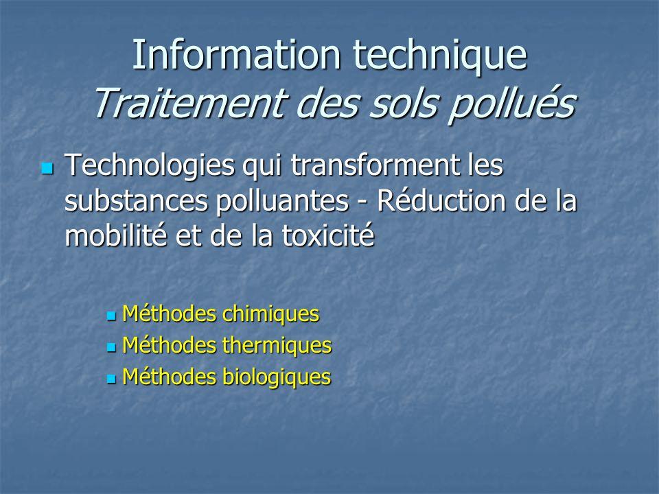 Information technique Traitement des sols pollués Technologies qui transforment les substances polluantes - Réduction de la mobilité et de la toxicité
