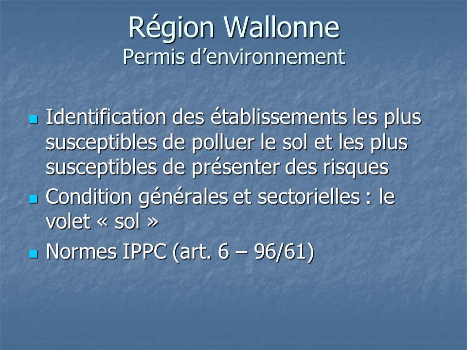 Région Wallonne Permis d'environnement Identification des établissements les plus susceptibles de polluer le sol et les plus susceptibles de présenter