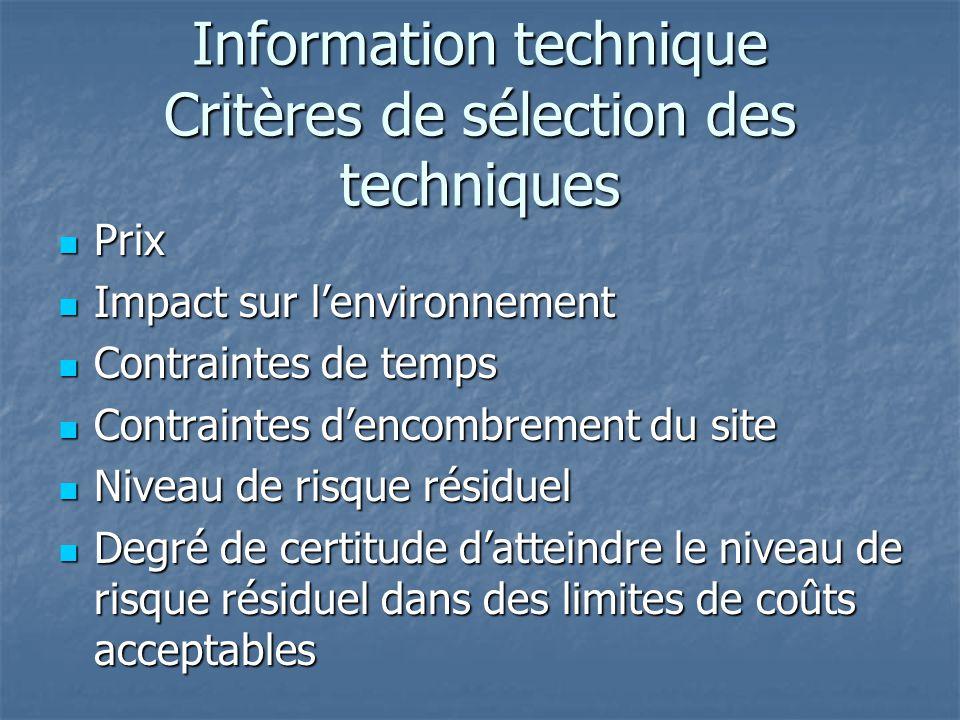 Information technique Critères de sélection des techniques Prix Prix Impact sur l'environnement Impact sur l'environnement Contraintes de temps Contra