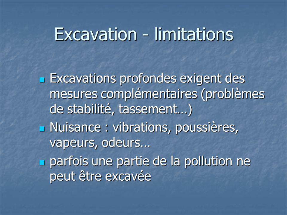 Excavation - limitations Excavations profondes exigent des mesures complémentaires (problèmes de stabilité, tassement…) Excavations profondes exigent