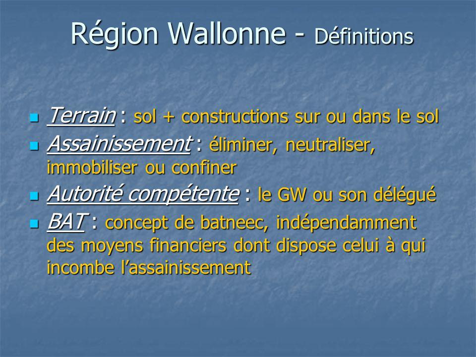 Région Wallonne - Définitions Terrain : sol + constructions sur ou dans le sol Terrain : sol + constructions sur ou dans le sol Assainissement : élimi