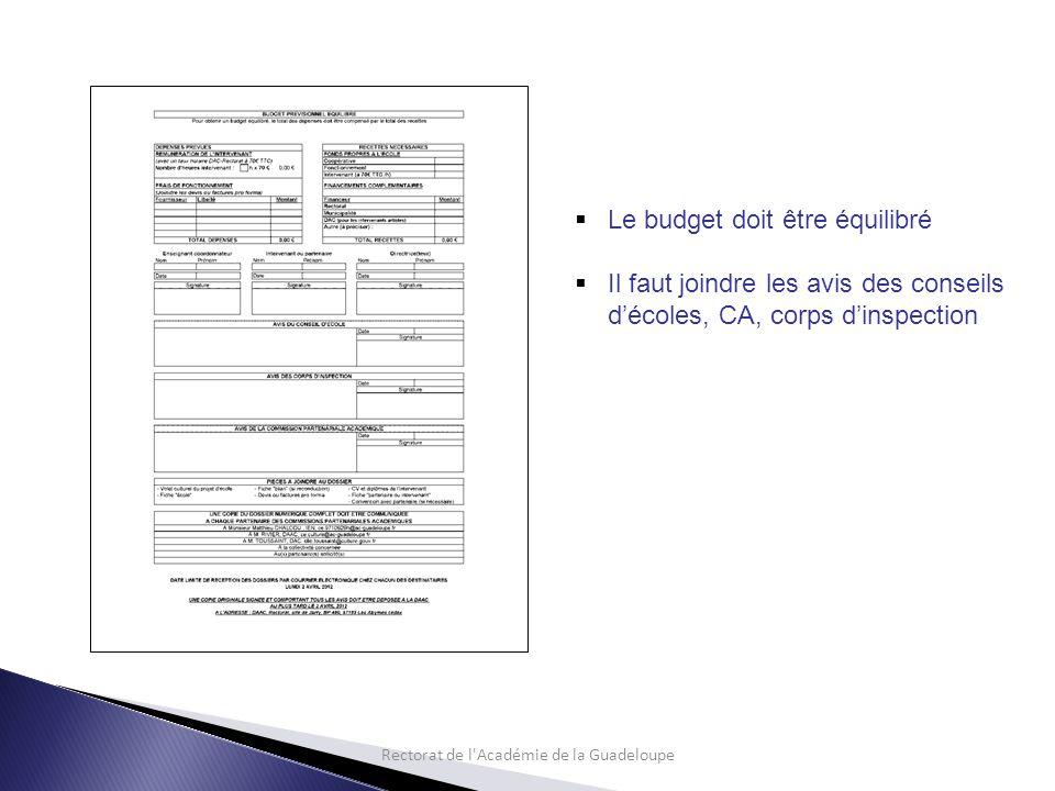Rectorat de l Académie de la Guadeloupe  Le budget doit être équilibré  Il faut joindre les avis des conseils d'écoles, CA, corps d'inspection
