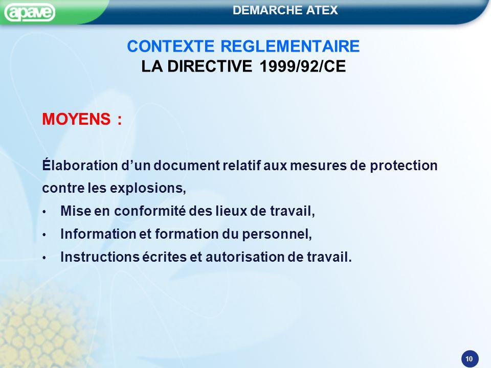 DEMARCHE ATEX 10 CONTEXTE REGLEMENTAIRE LA DIRECTIVE 1999/92/CE MOYENS : Élaboration d'un document relatif aux mesures de protection contre les explos