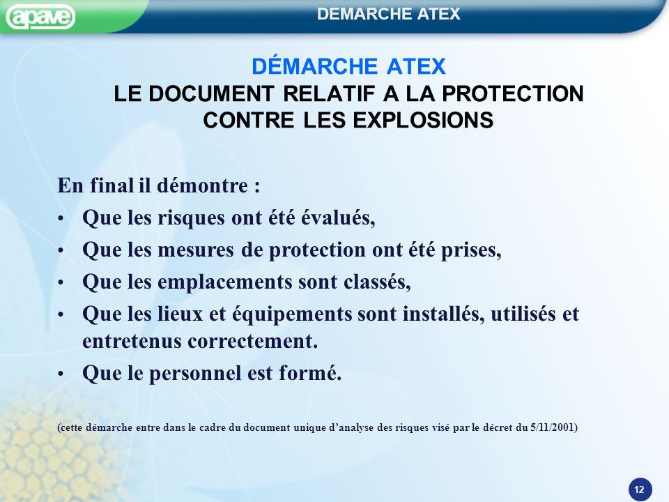 DEMARCHE ATEX 12 DÉMARCHE ATEX LE DOCUMENT RELATIF A LA PROTECTION CONTRE LES EXPLOSIONS En final il démontre : Que les risques ont été évalués, Que l