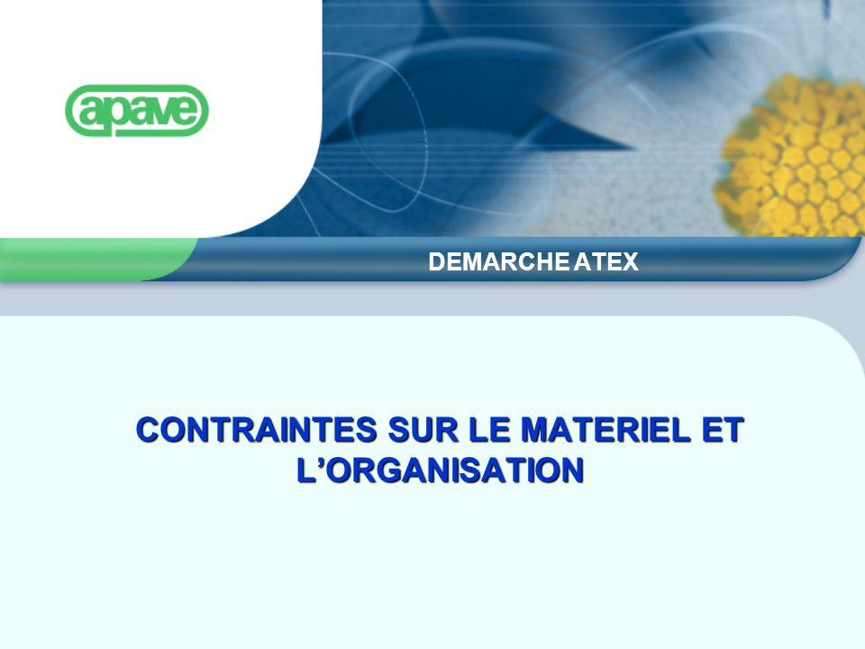 CONTRAINTES SUR LE MATERIEL ET L'ORGANISATION DEMARCHE ATEX