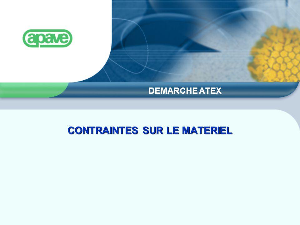 DEMARCHE ATEX CONTRAINTES SUR LE MATERIEL