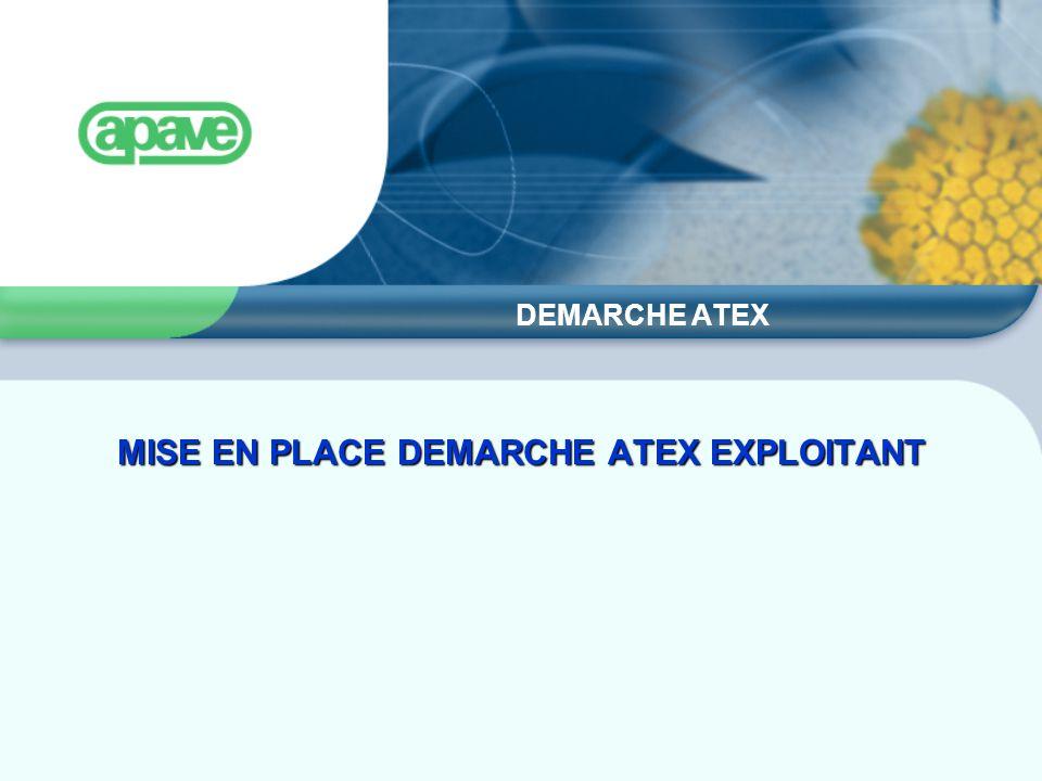 DEMARCHE ATEX MISE EN PLACE DEMARCHE ATEX EXPLOITANT