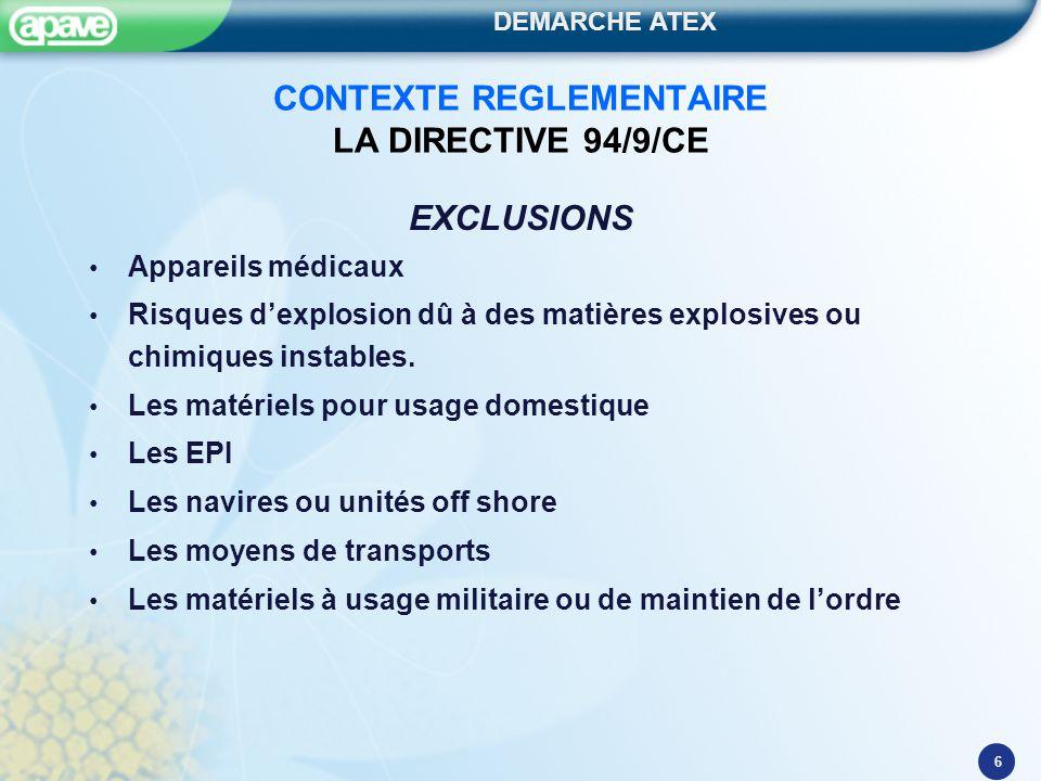 DEMARCHE ATEX 6 CONTEXTE REGLEMENTAIRE LA DIRECTIVE 94/9/CE EXCLUSIONS Appareils médicaux Risques d'explosion dû à des matières explosives ou chimique