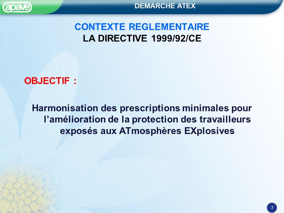 DEMARCHE ATEX 8 CONTEXTE REGLEMENTAIRE LA DIRECTIVE 1999/92/CE OBJECTIF : mise en place de mesures organisationnelles et techniques pour: Supprimer les zones à risque d'explosion, Supprimer les sources d'inflammation en zones explosives, Réduire les effets d'une explosion.