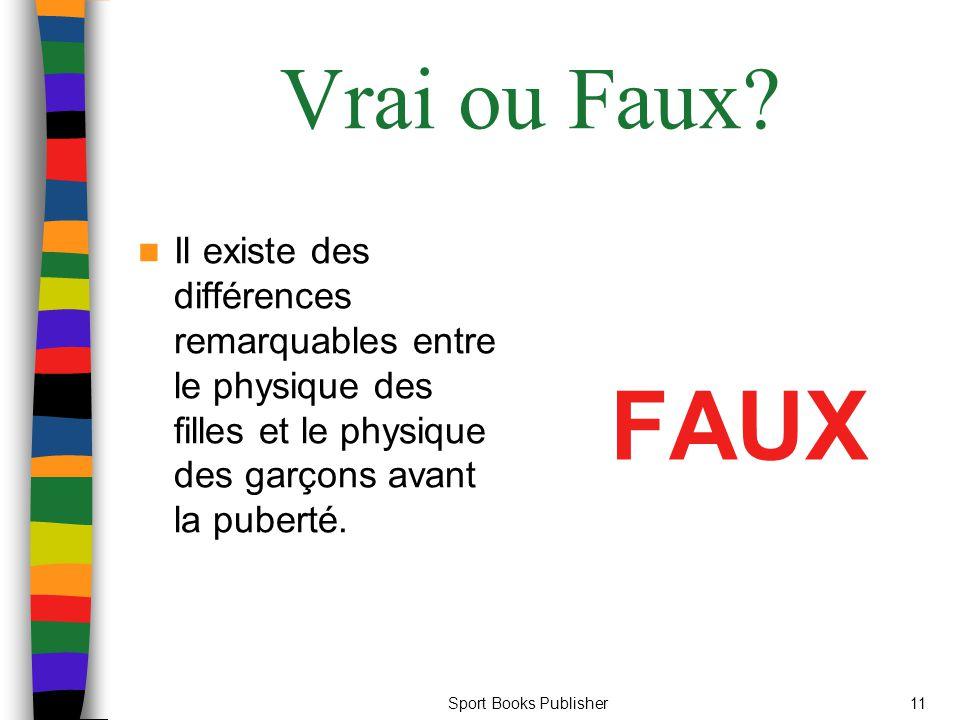 Sport Books Publisher11 Vrai ou Faux.
