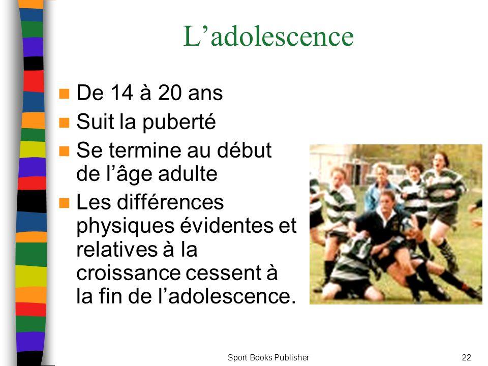 Sport Books Publisher22 L'adolescence De 14 à 20 ans Suit la puberté Se termine au début de l'âge adulte Les différences physiques évidentes et relatives à la croissance cessent à la fin de l'adolescence.