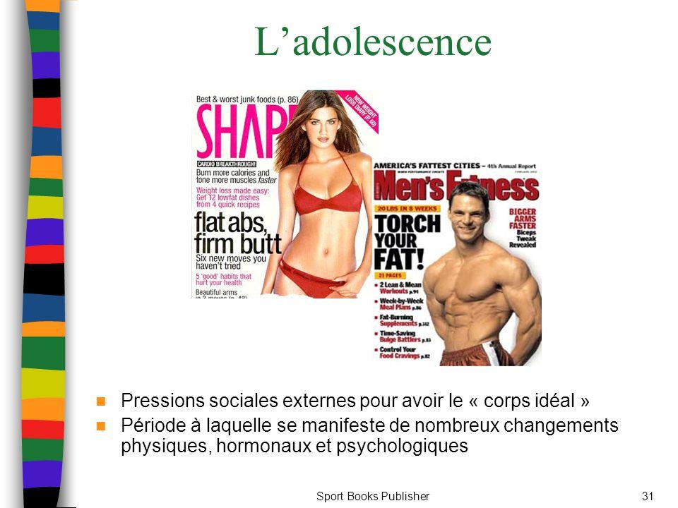 Sport Books Publisher31 L'adolescence Pressions sociales externes pour avoir le « corps idéal » Période à laquelle se manifeste de nombreux changements physiques, hormonaux et psychologiques