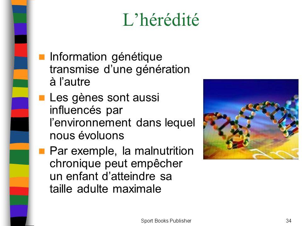 Sport Books Publisher34 L'hérédité Information génétique transmise d'une génération à l'autre Les gènes sont aussi influencés par l'environnement dans lequel nous évoluons Par exemple, la malnutrition chronique peut empêcher un enfant d'atteindre sa taille adulte maximale