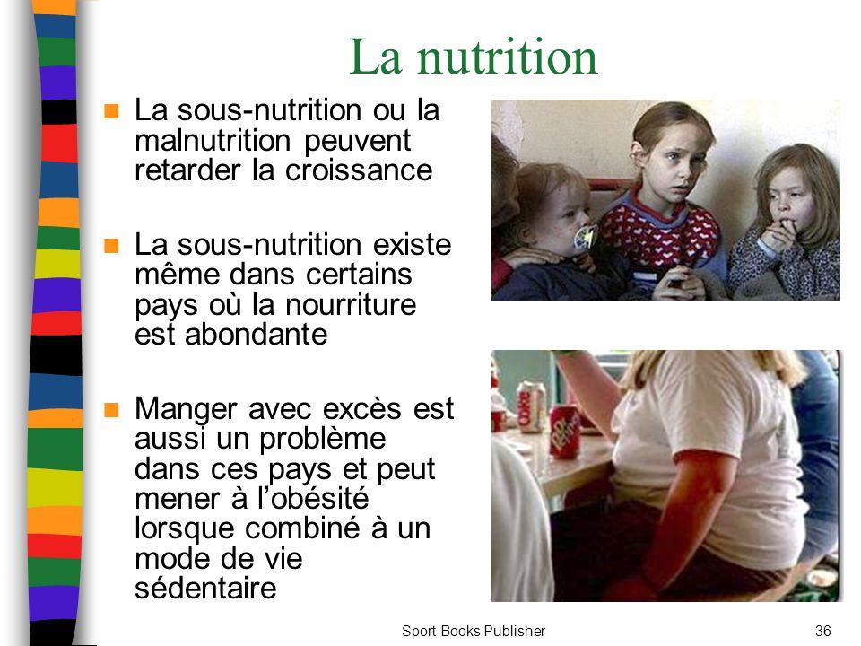 Sport Books Publisher36 La nutrition La sous-nutrition ou la malnutrition peuvent retarder la croissance La sous-nutrition existe même dans certains pays où la nourriture est abondante Manger avec excès est aussi un problème dans ces pays et peut mener à l'obésité lorsque combiné à un mode de vie sédentaire