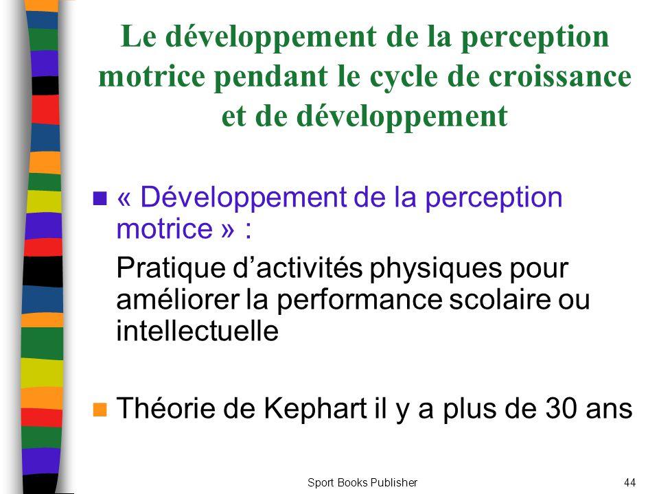 Sport Books Publisher44 Le développement de la perception motrice pendant le cycle de croissance et de développement « Développement de la perception motrice » : Pratique d'activités physiques pour améliorer la performance scolaire ou intellectuelle Théorie de Kephart il y a plus de 30 ans