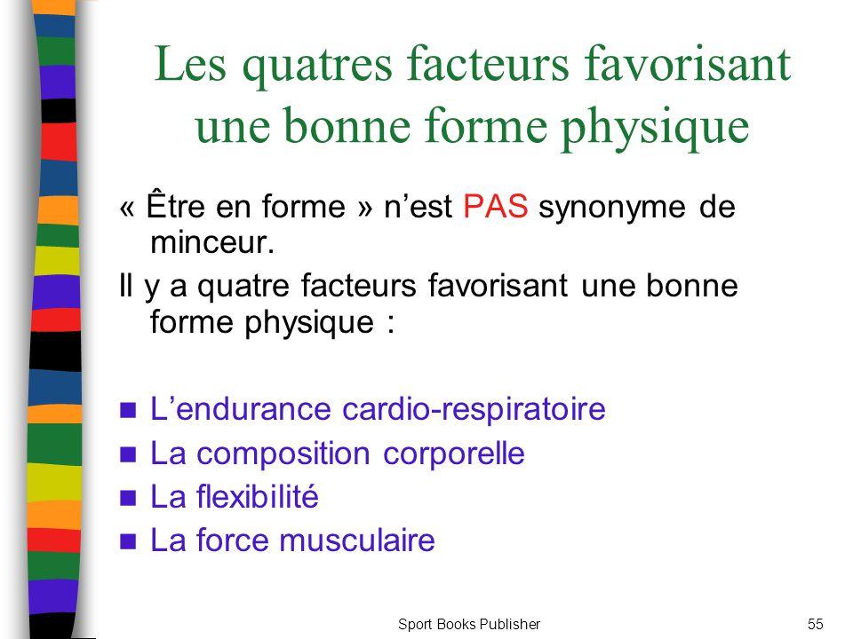 Sport Books Publisher55 Les quatres facteurs favorisant une bonne forme physique « Être en forme » n'est PAS synonyme de minceur. Il y a quatre facteu