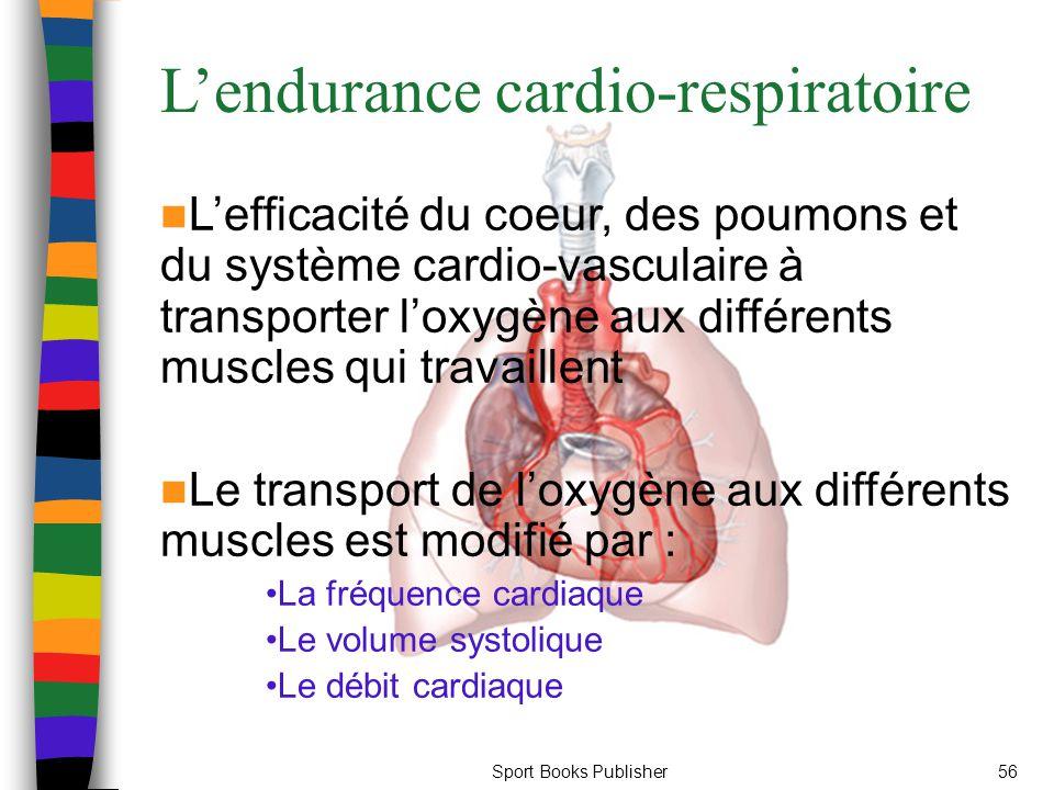 Sport Books Publisher56 L'endurance cardio-respiratoire L'efficacité du coeur, des poumons et du système cardio-vasculaire à transporter l'oxygène aux différents muscles qui travaillent Le transport de l'oxygène aux différents muscles est modifié par : La fréquence cardiaque Le volume systolique Le débit cardiaque
