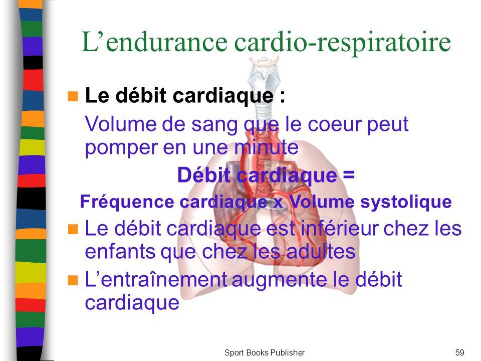 Sport Books Publisher59 L'endurance cardio-respiratoire Le débit cardiaque : Volume de sang que le coeur peut pomper en une minute Débit cardiaque = Fréquence cardiaque x Volume systolique Le débit cardiaque est inférieur chez les enfants que chez les adultes L'entraînement augmente le débit cardiaque