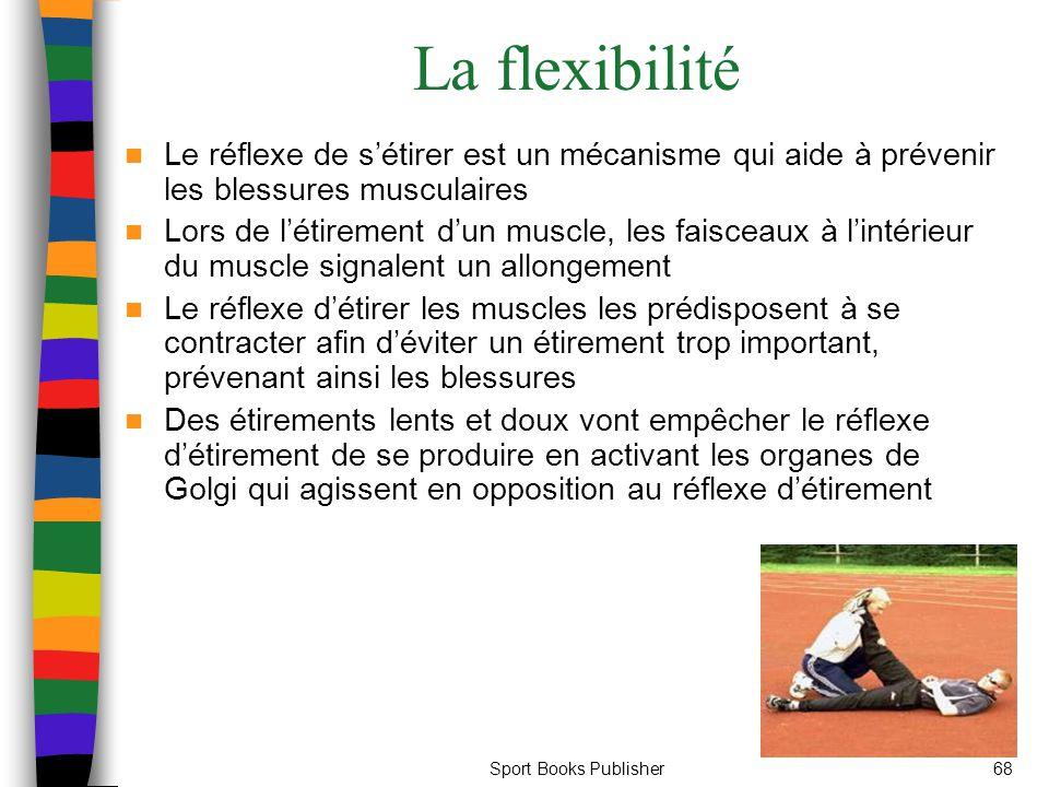 Sport Books Publisher68 La flexibilité Le réflexe de s'étirer est un mécanisme qui aide à prévenir les blessures musculaires Lors de l'étirement d'un muscle, les faisceaux à l'intérieur du muscle signalent un allongement Le réflexe d'étirer les muscles les prédisposent à se contracter afin d'éviter un étirement trop important, prévenant ainsi les blessures Des étirements lents et doux vont empêcher le réflexe d'étirement de se produire en activant les organes de Golgi qui agissent en opposition au réflexe d'étirement