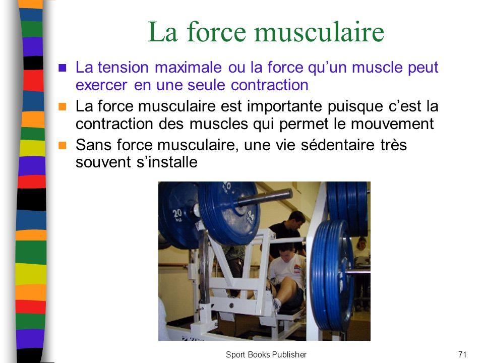 Sport Books Publisher71 La force musculaire La tension maximale ou la force qu'un muscle peut exercer en une seule contraction La force musculaire est importante puisque c'est la contraction des muscles qui permet le mouvement Sans force musculaire, une vie sédentaire très souvent s'installe