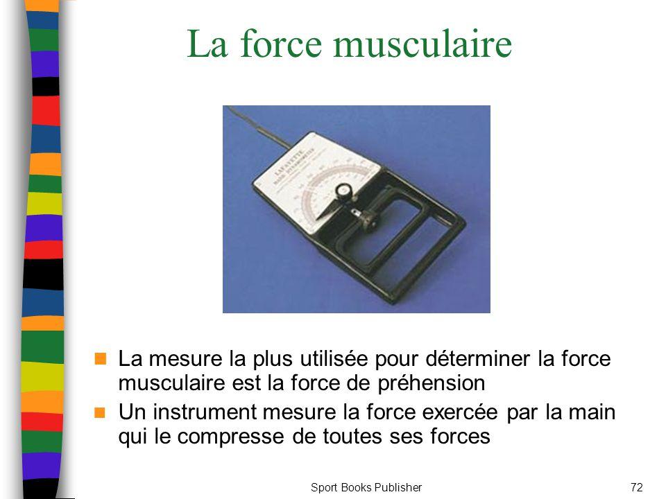 Sport Books Publisher72 La force musculaire La mesure la plus utilisée pour déterminer la force musculaire est la force de préhension Un instrument mesure la force exercée par la main qui le compresse de toutes ses forces