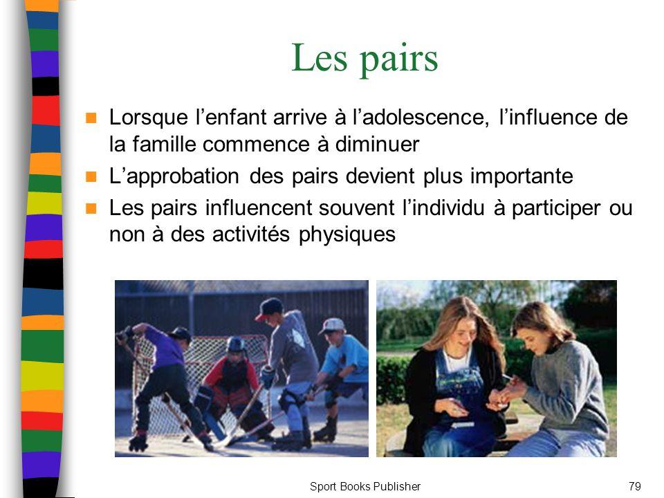 Sport Books Publisher79 Les pairs Lorsque l'enfant arrive à l'adolescence, l'influence de la famille commence à diminuer L'approbation des pairs devient plus importante Les pairs influencent souvent l'individu à participer ou non à des activités physiques
