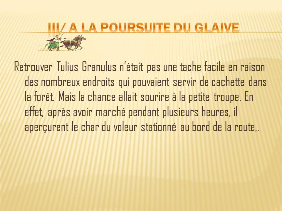 Retrouver Tulius Granulus n'était pas une tache facile en raison des nombreux endroits qui pouvaient servir de cachette dans la forêt.