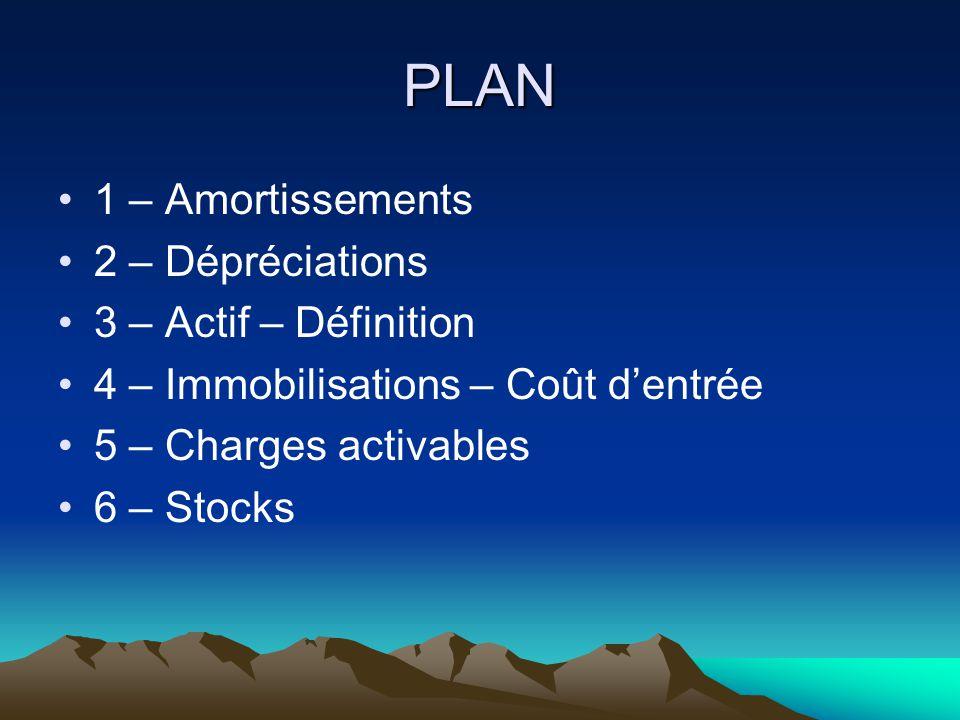 PLAN 1 – Amortissements 2 – Dépréciations 3 – Actif – Définition 4 – Immobilisations – Coût d'entrée 5 – Charges activables 6 – Stocks