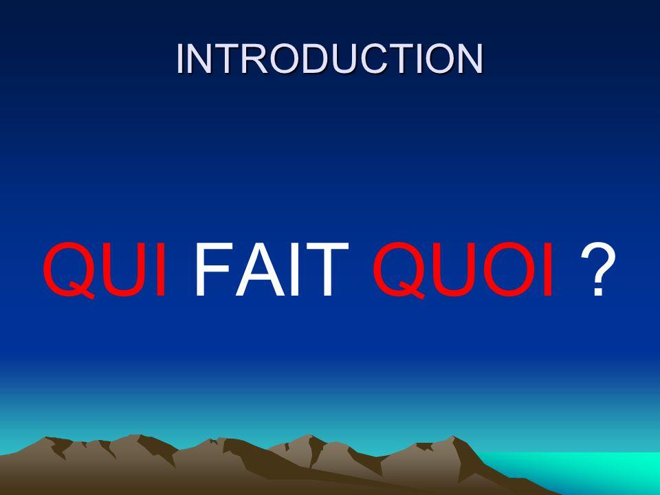 INTRODUCTION QUI FAIT QUOI ?