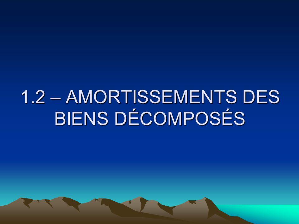 1.2 – AMORTISSEMENTS DES BIENS DÉCOMPOSÉS