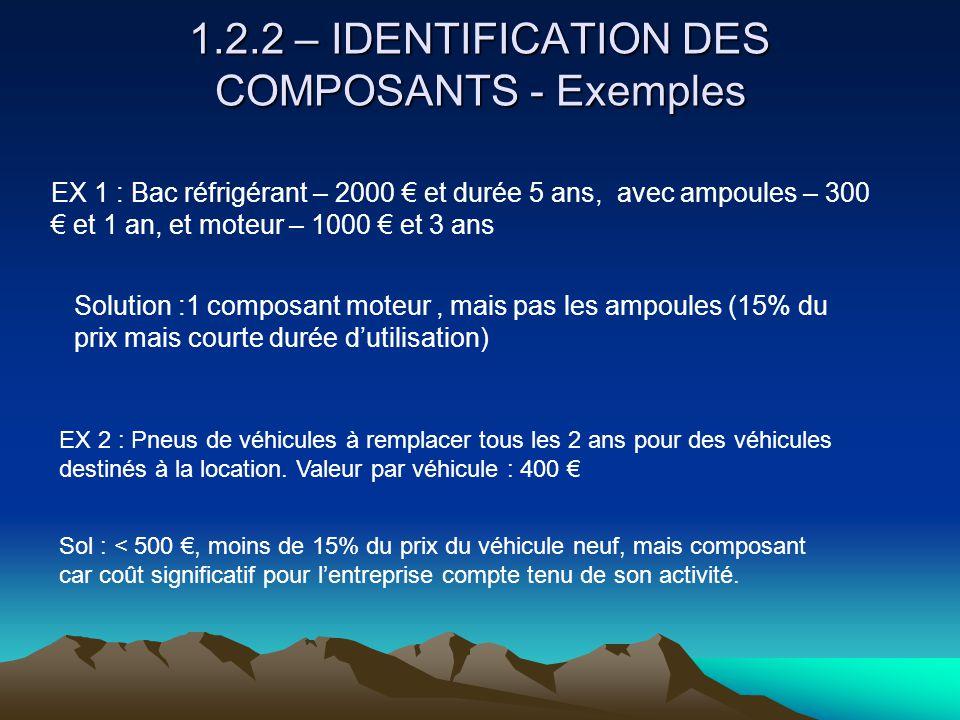 1.2.2 – IDENTIFICATION DES COMPOSANTS - Exemples EX 1 : Bac réfrigérant – 2000 € et durée 5 ans, avec ampoules – 300 € et 1 an, et moteur – 1000 € et 3 ans Solution :1 composant moteur, mais pas les ampoules (15% du prix mais courte durée d'utilisation) EX 2 : Pneus de véhicules à remplacer tous les 2 ans pour des véhicules destinés à la location.