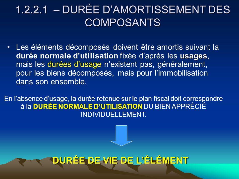 1.2.2.1 – DURÉE D'AMORTISSEMENT DES COMPOSANTS usages durées d'usageLes éléments décomposés doivent être amortis suivant la durée normale d'utilisation fixée d'après les usages, mais les durées d'usage n'existent pas, généralement, pour les biens décomposés, mais pour l'immobilisation dans son ensemble.