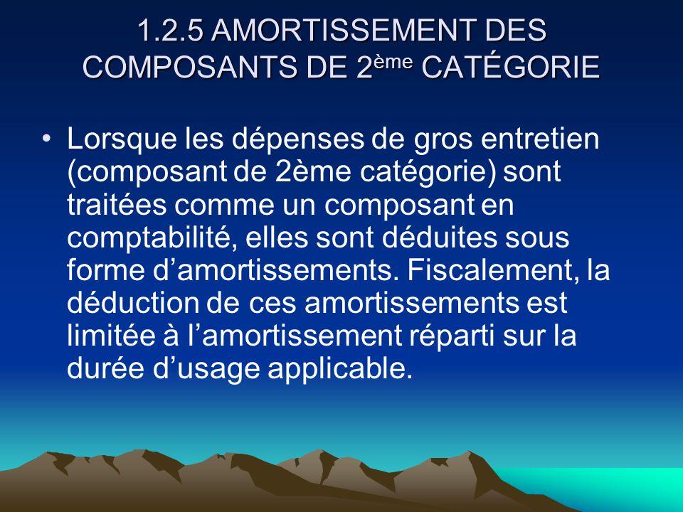 1.2.5 AMORTISSEMENT DES COMPOSANTS DE 2 ème CATÉGORIE Lorsque les dépenses de gros entretien (composant de 2ème catégorie) sont traitées comme un composant en comptabilité, elles sont déduites sous forme d'amortissements.