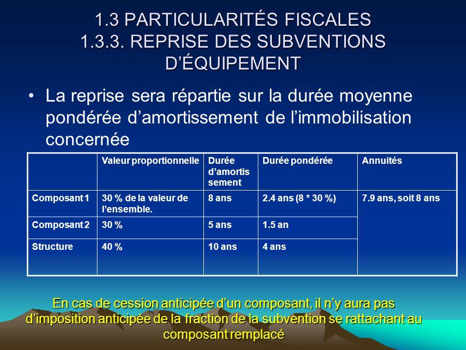 1.3 PARTICULARITÉS FISCALES 1.3.3.