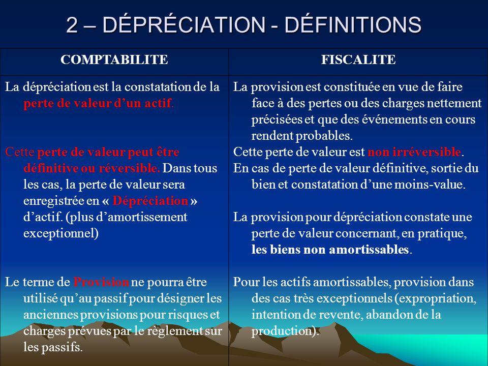 2 – DÉPRÉCIATION - DÉFINITIONS COMPTABILITEFISCALITE La dépréciation est la constatation de la perte de valeur d'un actif.