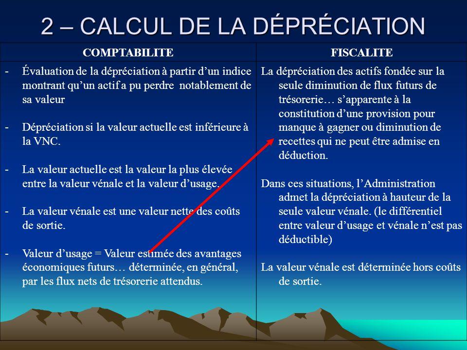 2 – CALCUL DE LA DÉPRÉCIATION COMPTABILITEFISCALITE -Évaluation de la dépréciation à partir d'un indice montrant qu'un actif a pu perdre notablement de sa valeur -Dépréciation si la valeur actuelle est inférieure à la VNC.