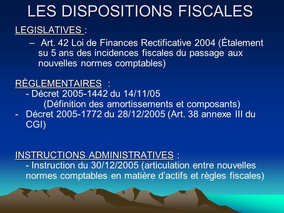 CONNEXION DES RÉGLES COMPTABLES ET FISCALES COMPTABILITEFISCALITE Entrée en vigueur au 1 er janvier 2005 des règlements CRC 02-10 (Amortissement et dépréciation) et CRC 04-06 (Actifs) Loi de Finances rectificative pour 2004 : - Reconnaissance de la méthode par composants.