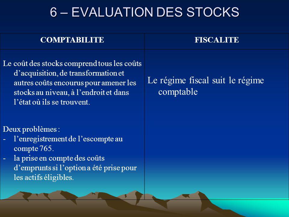 6 – EVALUATION DES STOCKS COMPTABILITEFISCALITE Le coût des stocks comprend tous les coûts d'acquisition, de transformation et autres coûts encourus pour amener les stocks au niveau, à l'endroit et dans l'état où ils se trouvent.