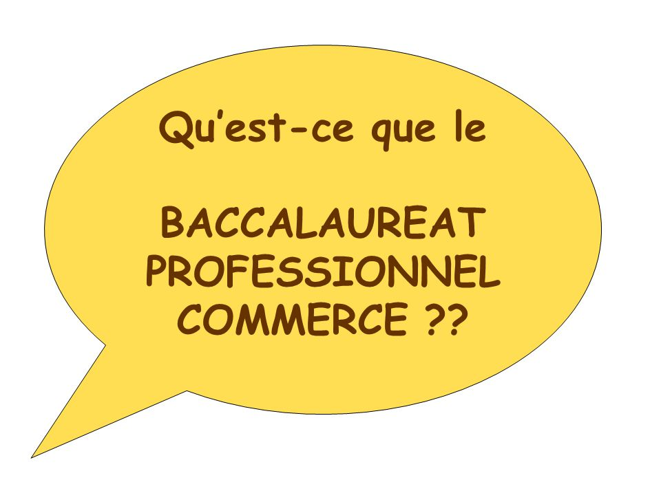 Qu'est-ce que le BACCALAUREAT PROFESSIONNEL COMMERCE ??