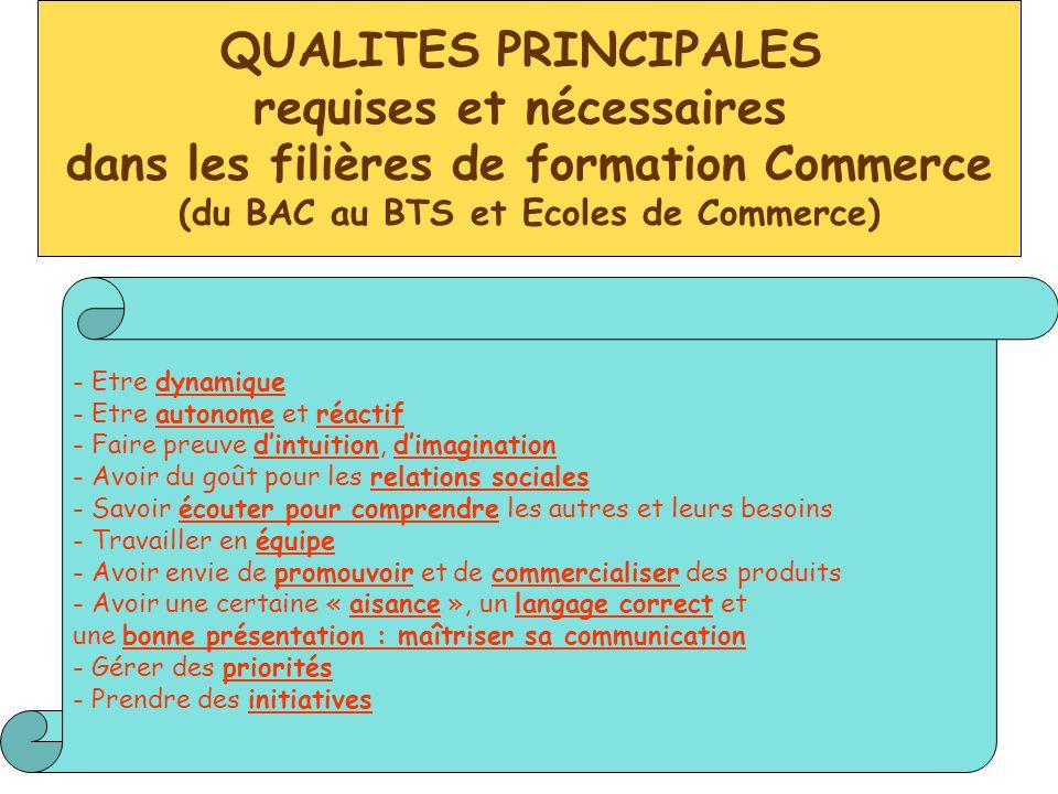 QUALITES PRINCIPALES requises et nécessaires dans les filières de formation Commerce (du BAC au BTS et Ecoles de Commerce) - Etre dynamique - Etre aut