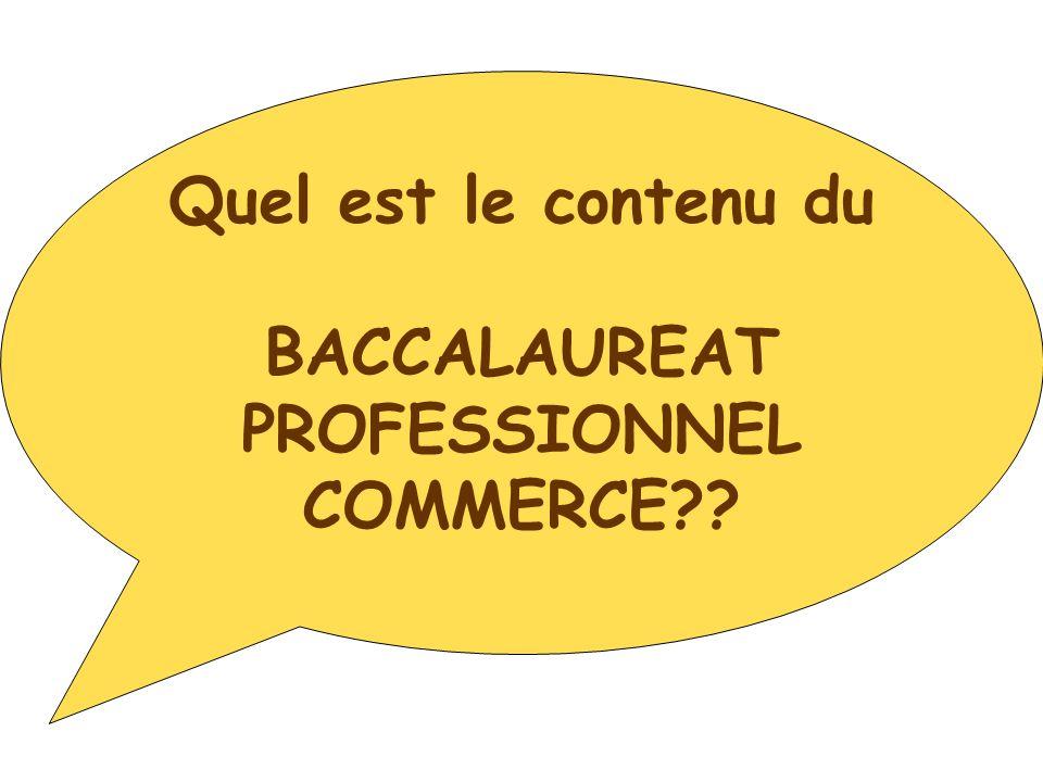 Quel est le contenu du BACCALAUREAT PROFESSIONNEL COMMERCE??