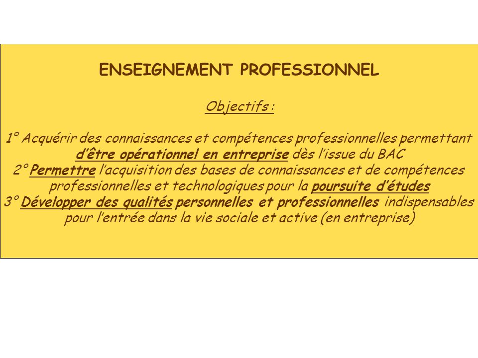 ENSEIGNEMENT PROFESSIONNEL Objectifs : 1° Acquérir des connaissances et compétences professionnelles permettant d'être opérationnel en entreprise dès