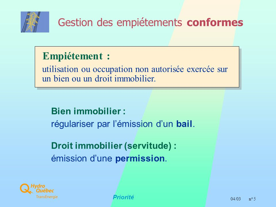  04/03n o 5 Gestion des empiétements conformes Priorité Empiétement : utilisation ou occupation non autorisée exercée sur un bien ou un droit immobilier.