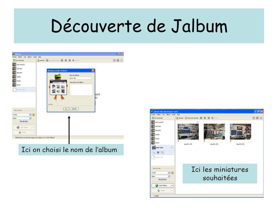 Découverte de Jalbum Ici on choisi le nom de l'album Ici les miniatures souhaitées