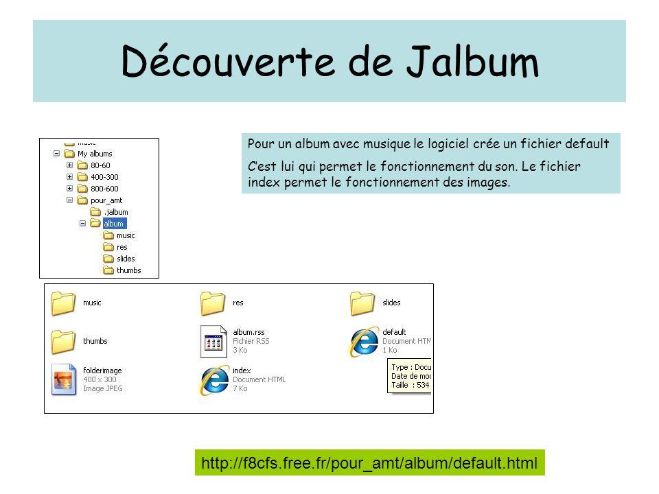 Découverte de Jalbum http://f8cfs.free.fr/pour_amt/album/default.html Pour un album avec musique le logiciel crée un fichier default C'est lui qui permet le fonctionnement du son.