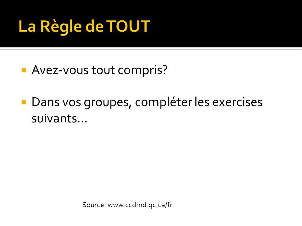  Avez-vous tout compris?  Dans vos groupes, compléter les exercises suivants… Source: www.ccdmd.qc.ca/fr