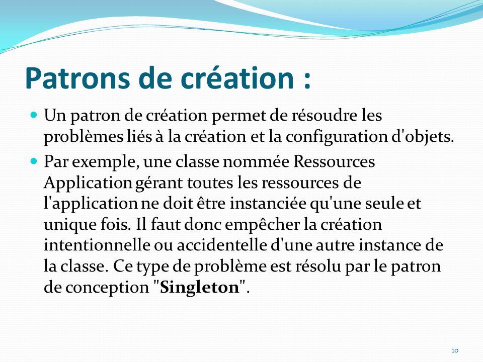 Patrons de création : Un patron de création permet de résoudre les problèmes liés à la création et la configuration d'objets. Par exemple, une classe