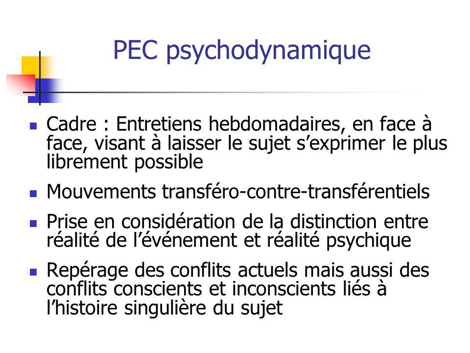 PEC psychodynamique Cadre : Entretiens hebdomadaires, en face à face, visant à laisser le sujet s'exprimer le plus librement possible Mouvements trans